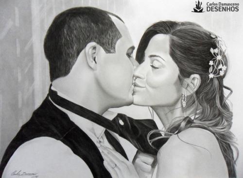 Como se Desenha: Retrato de Carlos e Evinha desenho realista