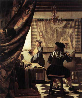 O estúdio do artista por Vermeer, 1665-1667, óleo, 471/4 x 391/2. coleção Kunsthistorisches Museum, Viena, Áustria. Note como a cortina de destaque em primeiro plano à esquerda ajuda criar uma sensação de profundidade na composição, por exemplo, de repoussoir.
