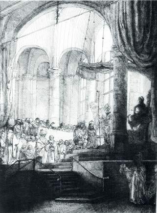 Medéia: O Casamento de Jason e Creusa por Rembrandt, 1648, gravura, 91/2 x 7. Colecção do Museu do Louvre, Paris, França. Observe como a figura de sombra na inferior direito é maior do que as figuras do casal, um exemplo de repoussoir. O casal se sobrepõem a muro de contenção no meio-termo, que se sobrepõe à linha de espectadores, que se sobrepõem o principal pilar de apoio, que se sobrepõe os alcances mais distantes da igreja, tudo contribuindo para uma poderosa sensação de profundidade. Mesmo o meio de preto-e-branco, lineares de uma gravura, Rembrandt consegue sugerindo uma diminuição do contraste em elementos como eles recuam para o fundo.