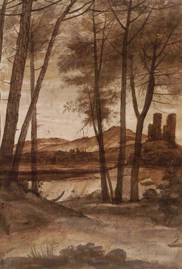 """Um bosque de pinheiros com uma torre em ruínas por Claude Lorrain, 1638-1639, caneta e tinta marrom com marrom, cinza e rosa lavar em papel branco, 125/8 x 83/4. Coleção do Museu Britânico, Londres, Inglaterra. Observe como o contraste na casca das árvores perto do lado esquerdo é mais acentuada do que o contraste da casca das árvores de meia-terrestres. Claude também trouxe a próxima colina em frente ao morro do meio-campo para ajudar a empurrar o segundo grupo de árvores de volta. Esta imagem está atualmente em exibição até 12 de agosto, como parte da exposição Claude Lorrain-The Painter como Relator: desenhos da useum britânico, """"no National Gallery of Art, em Washington, DC."""