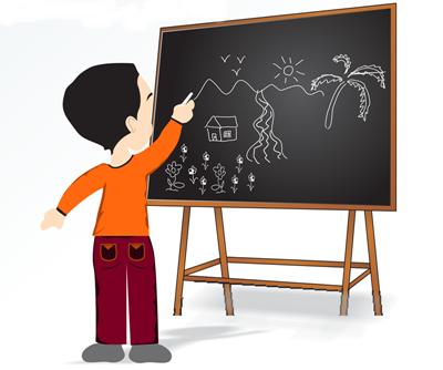 aula de desenho - criança desenhando
