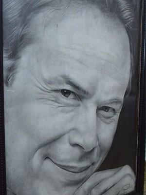 Retrato do ator José Wilker por Alison Pereira (Foto: Samantha Silva / G1)