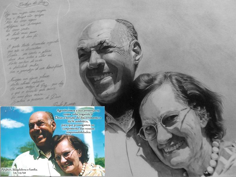 Desenho Realista - Casal Ahilton e Magdalena foto+desenho