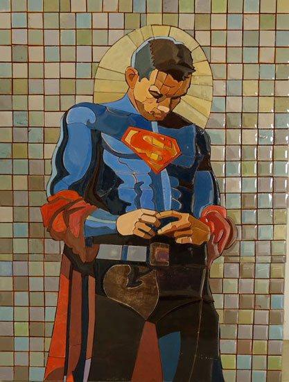 Maravilha Homem por Peter Buchman,  pintado mosaico de madeira, resina, 20 x 16.