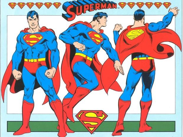O Super-Homem de García-López, no Guia de estilo da DC Comics de 1982. Esses dsesenhos retrô são usados até hoje em diferentes produtos. Desde então, ele criou novas versões, mais modernas (Foto: Divulgação)