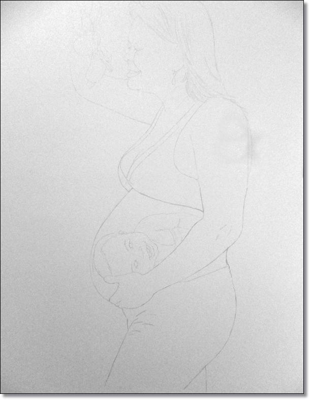 Primeira fase: Esboço de todas as imagens juntas (corpo, cabeça e bebê)