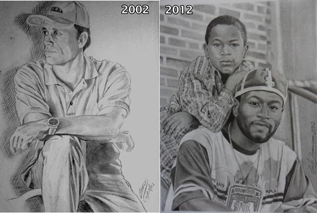 Desenho Realista de Retratos a Lápis antes e depois