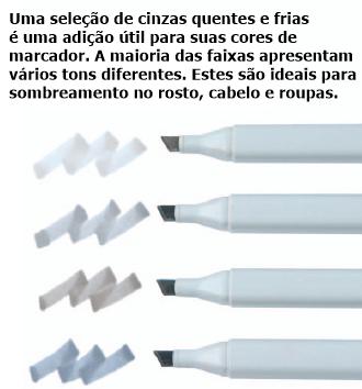 canetas cinzas