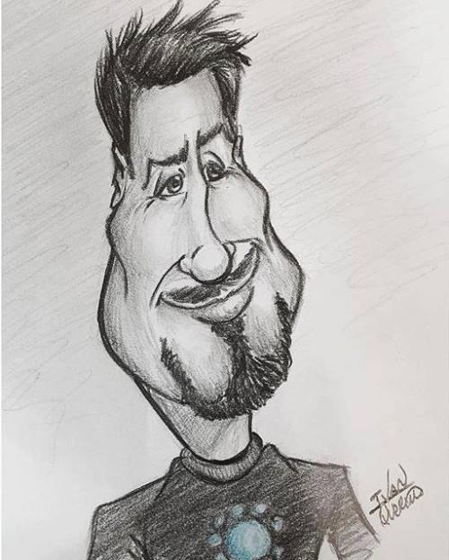 Caricatura Tony Stark - por Ivan Querino