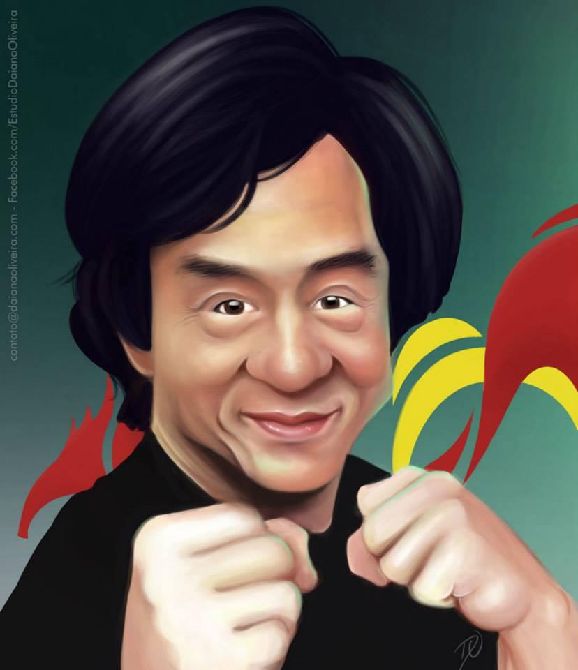 Caricatura realista de Jackie Chan por Daiane Oliveira