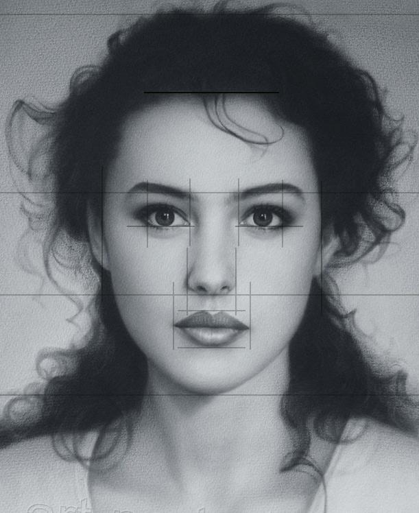 Desenho realista - marcações das proporções de um rosto