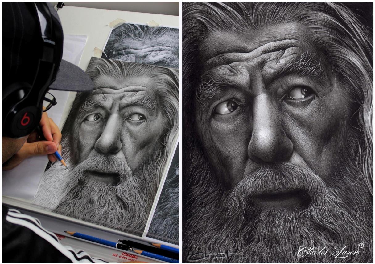 Como fazer pelos brancos e texturas de pele - Charles Laveso desenhando Gandalf