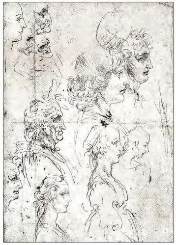 Leonardo da Vinci: Estudo de perfis, da coleção Windsor.