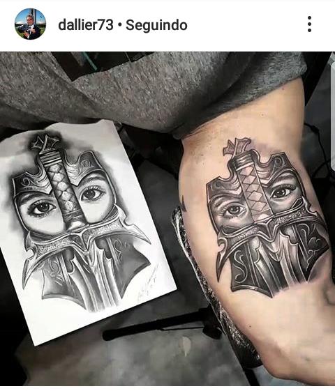 Desenho Realista de Carlos Damasceno: E aqui é a tatuagem feita no braço do cliente