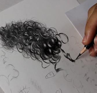 como desenhar cabelo cacheado