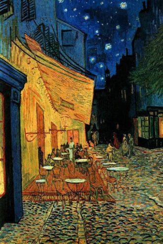 Café Terrace at Night (1888), Vincent van Gogh, como um exemplo de perspectiva de um ponto.