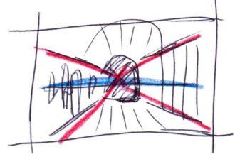 Desenho em perspectiva de um ponto: esboço rápido em miniatura