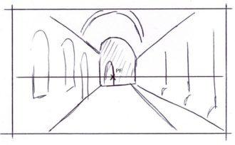 Desenho em perspectiva de um ponto: grandes formas