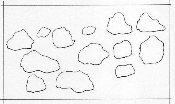 Esboço de uma série de pedras sem indicação de perspectiva