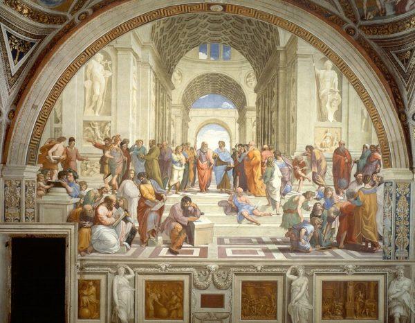 Escola de Atenas de Raphael mostrando alguma perspectiva sofisticada de um ponto.
