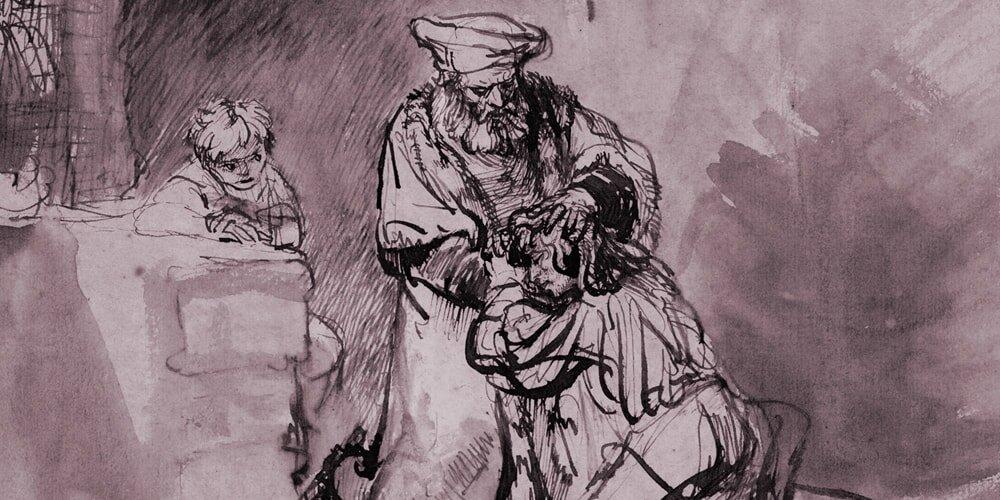 Copiar os antigos mestres pode lhe ensinar muitas habilidades. Aqui: Filho pródigo de Rembrandt (1642)