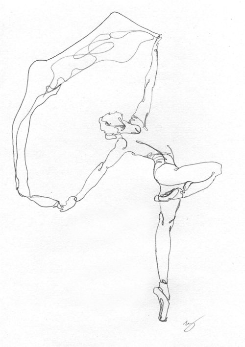 outro exercício de desenho de uma linha, dessa vez um bailarino