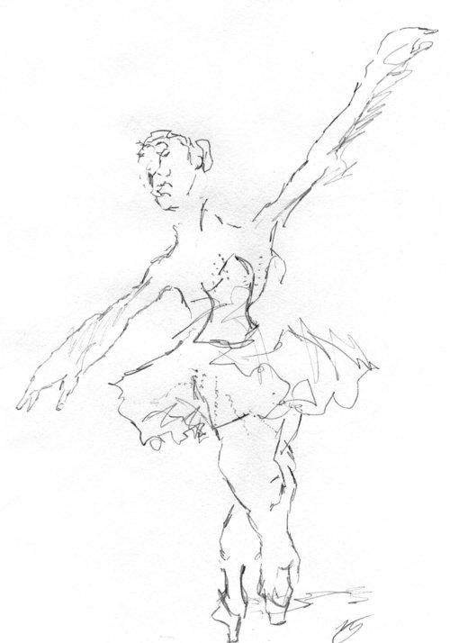 uma bailarina como parte de um exercício de desenho
