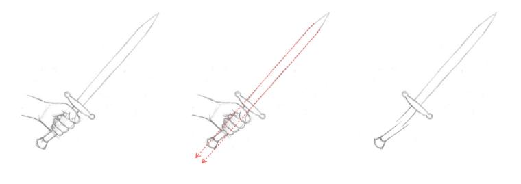 Erros mais comuns ao desenhar - exemplo 1- o cabo está torto