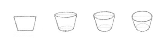 Lição 3 Indo do 2D para o 3D - USANDO LINHAS DE CONTORNO - um tigela desenhada em diferentes ângulos