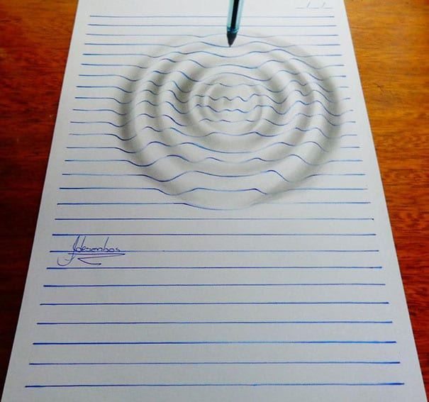 desenhos 3D incríveis em folhas de caderno