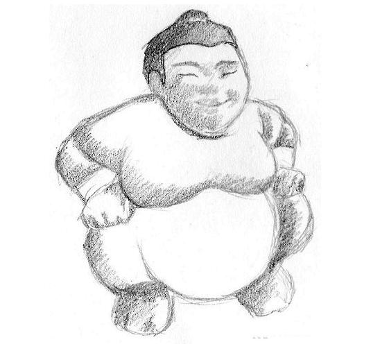 começando o sombreamento do sumô com técnica de Hachura 1