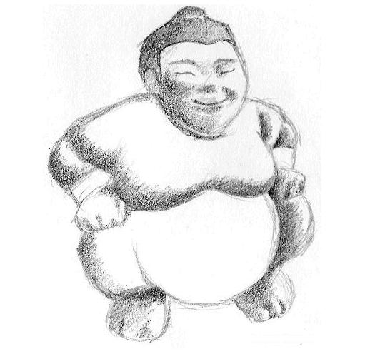 começando o sombreamento do sumô com técnica de Hachura